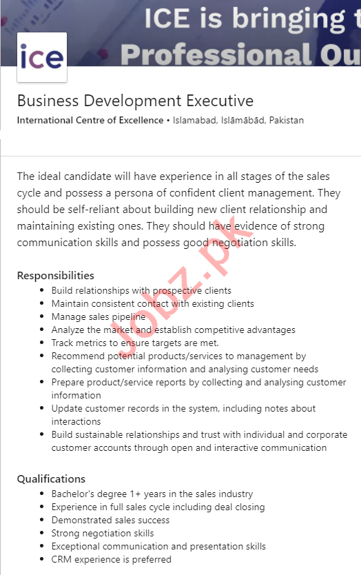 International Centre of Excellence ICE Islamabad Jobs 2020