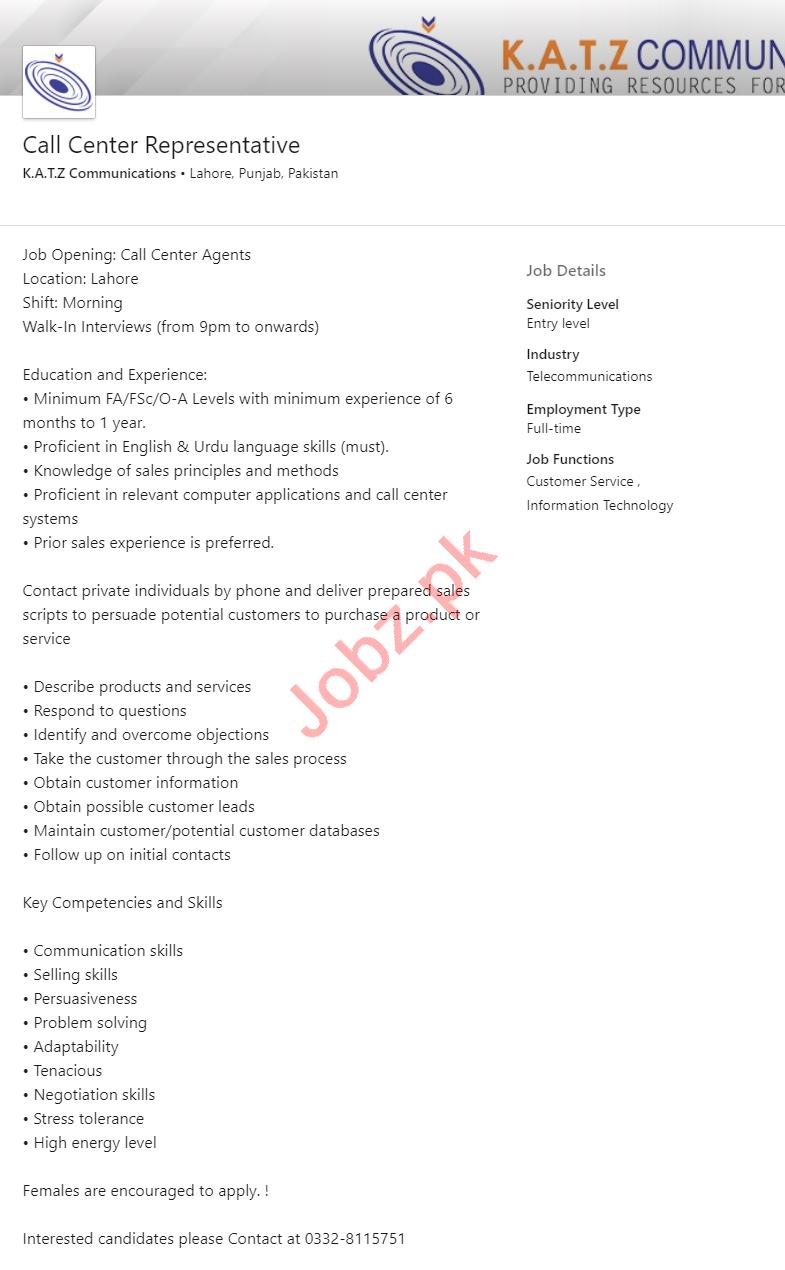 KATZ Communications Lahore Jobs Call Center Representative