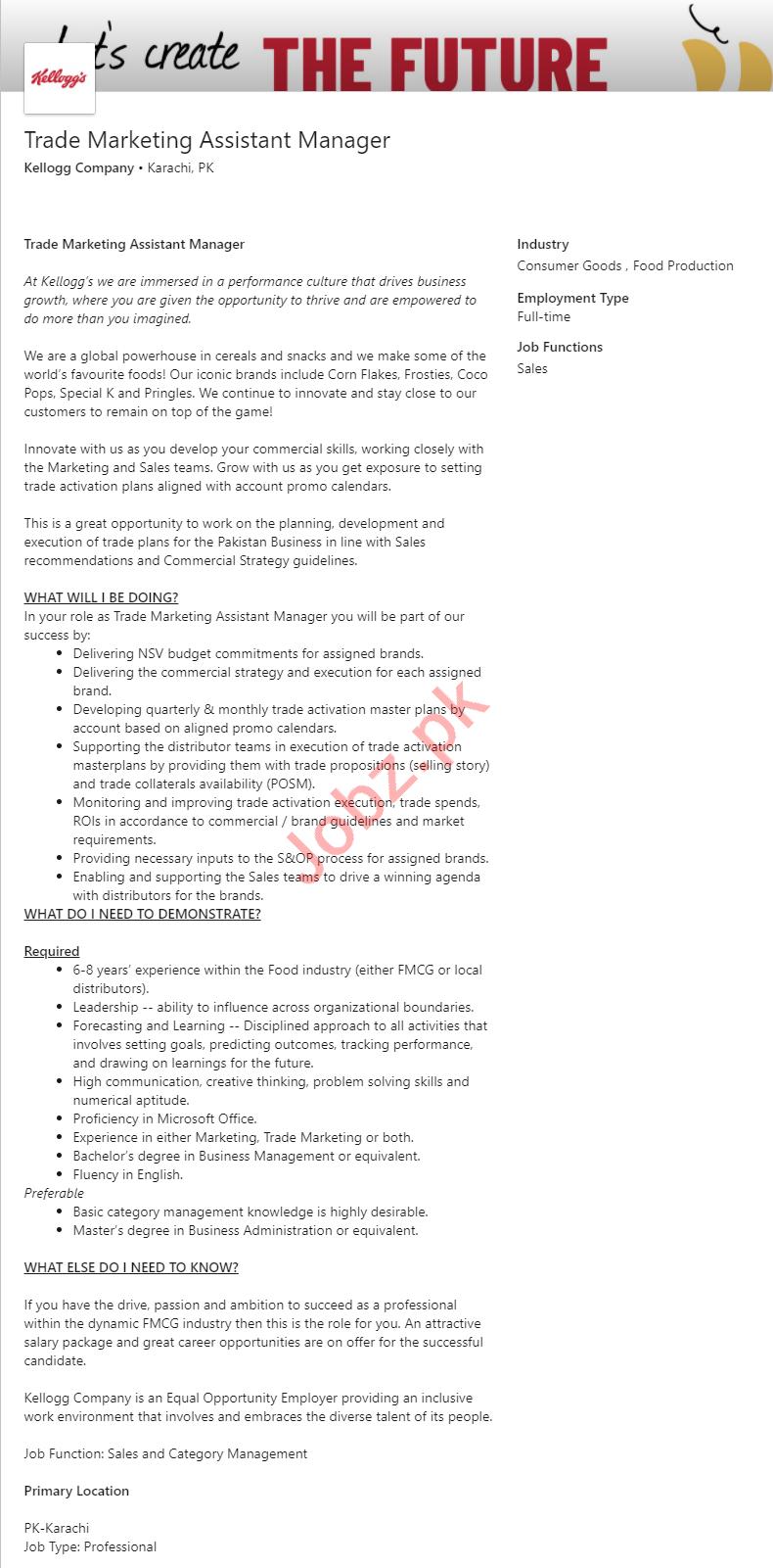 Kellogg Company Karachi Jobs 2020 for Assistant Manager