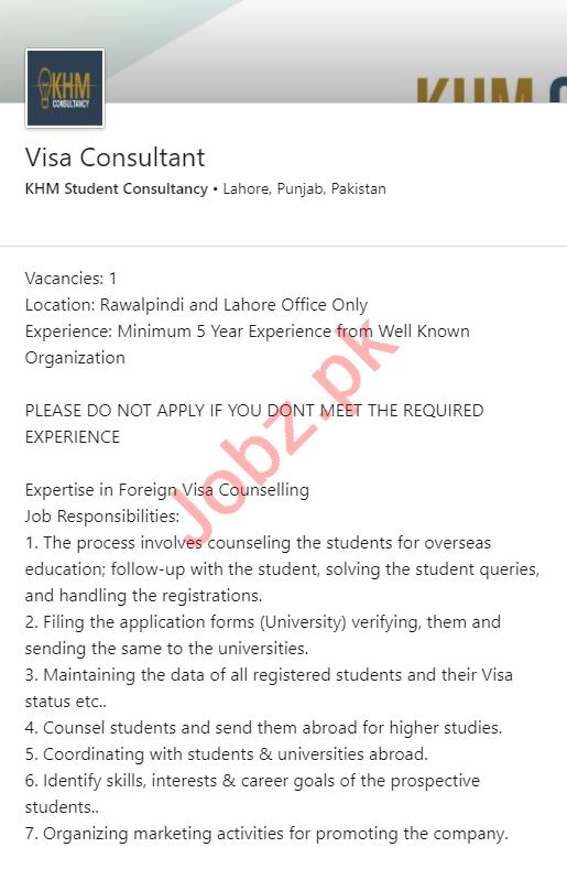 KHM Student Consultancy Lahore Jobs for Visa Consultant