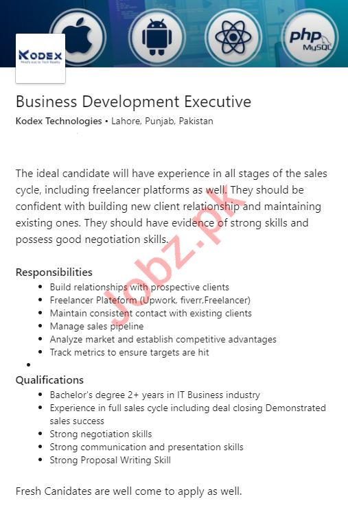 Kodex Technologies Jobs for Business Development Executive