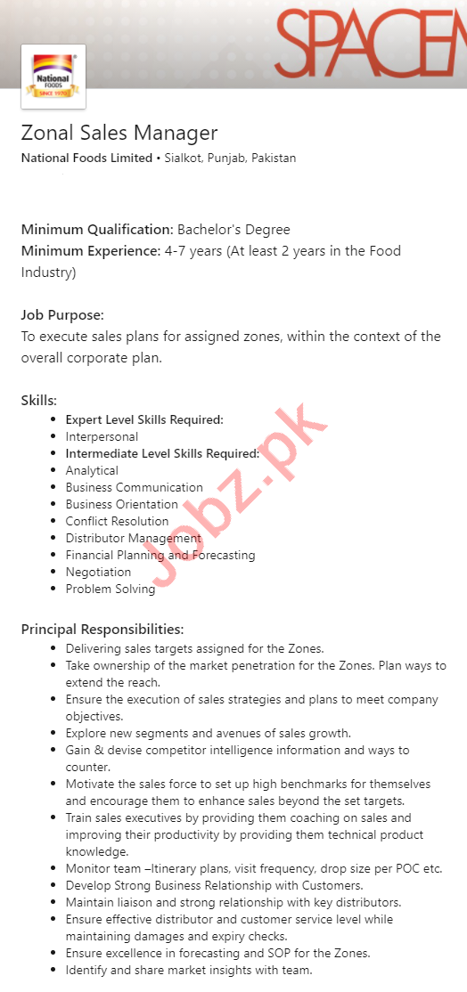National Foods Sialkot Jobs 2020 for Zonal Sales Manager