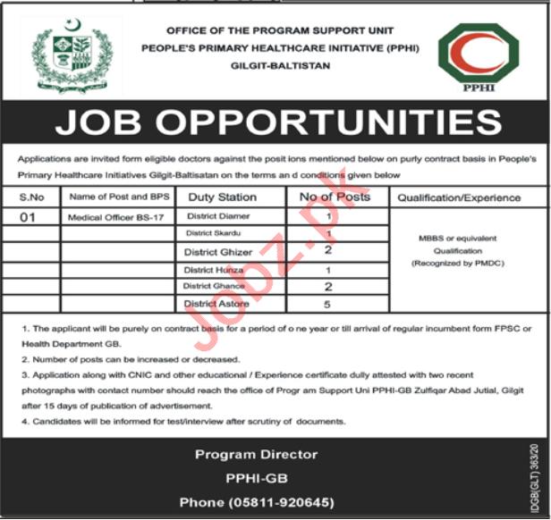 PPHI Gilgit Baltistan Jobs 2020 for Medical Officer