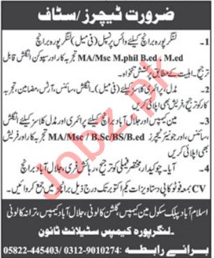 Islamabad Public school Muzaffarabad Jobs 2020 for Teachers