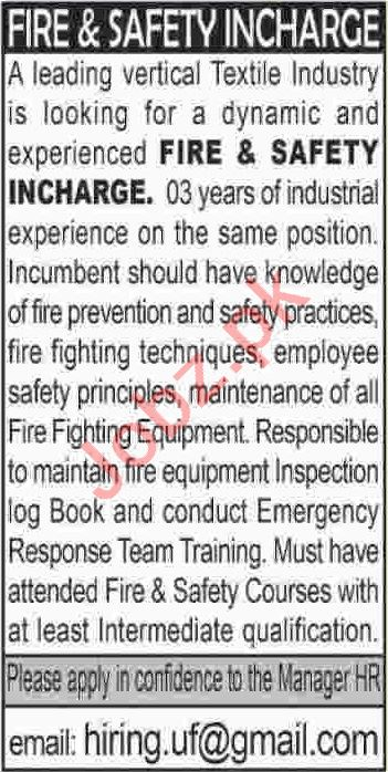 Fire & Safety Incharge Jobs 2020 in Textile Industry