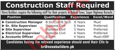 Construction Manager & Electrical Supervisor Jobs 2020