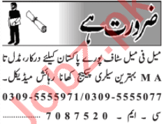 Male & Female Staff Jobs Open in Lahore 2020
