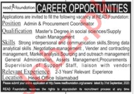 READ Foundation Islamabad Jobs 2020 for Admin Coordinator