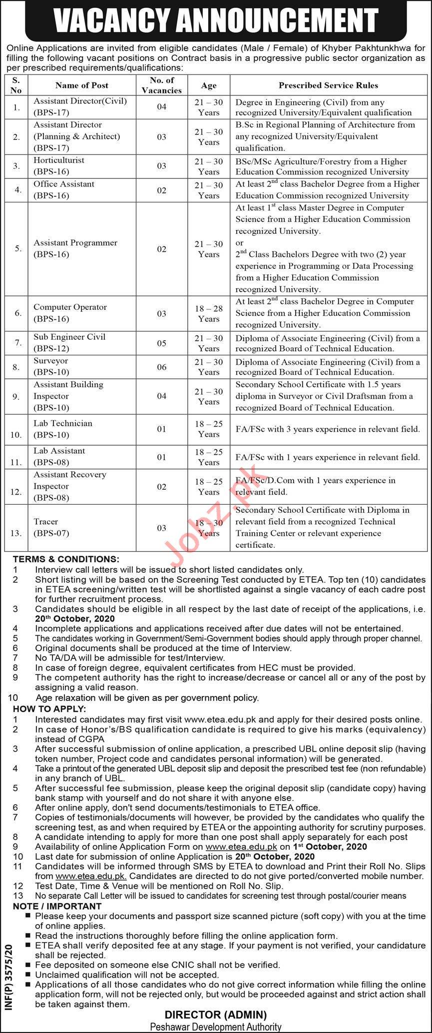 Peshawar Development Authority PDA Jobs 2020 for Director