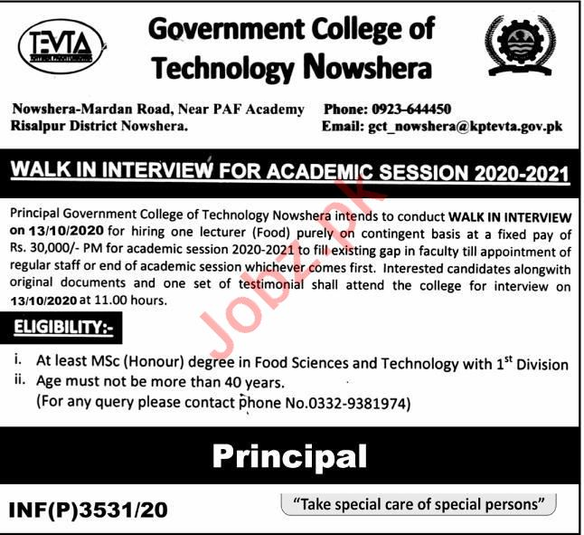Govt College of Technology GCT Nowshera Jobs Interview 2020