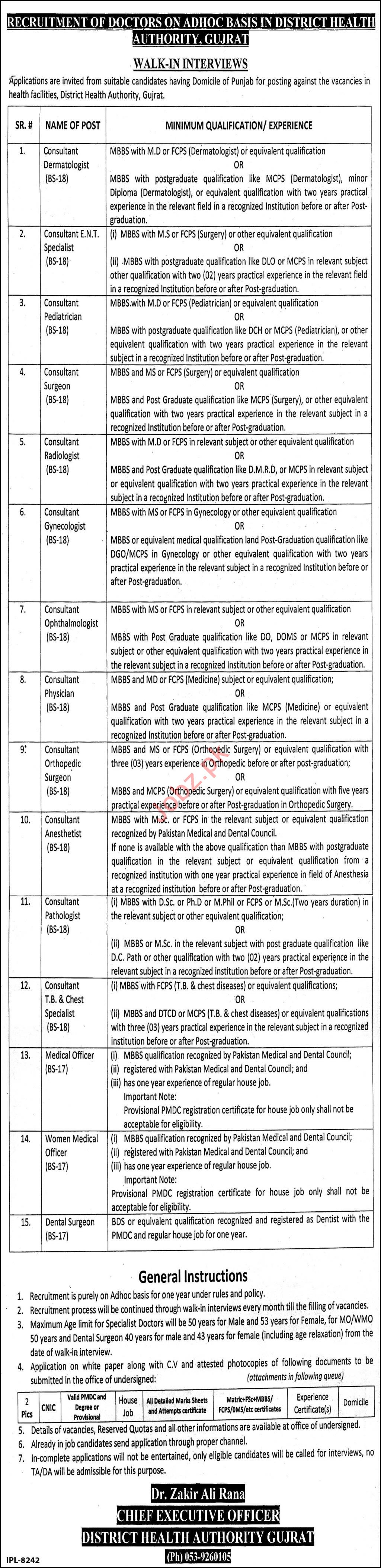 District Health Authority DHA Gujrat Jobs 2020