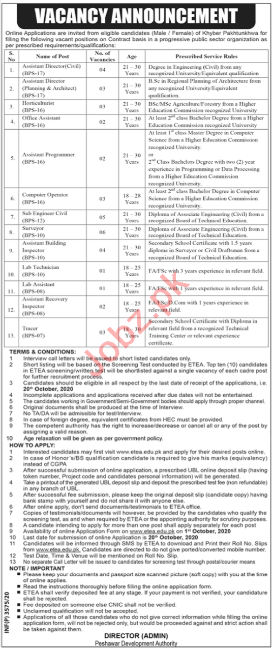 Assistant Director & Horticulturist Jobs in PDA Peshawar