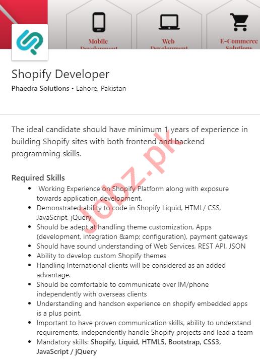Phaedra Solutions Jobs 2020 for Shopify Developer