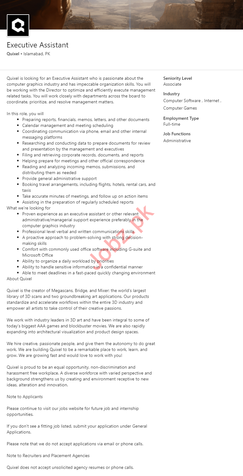 Quixel Islamabad Jobs 2020 for Executive Assistant