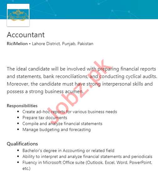 Rici Melion Lahore Jobs 2020 for Accountant