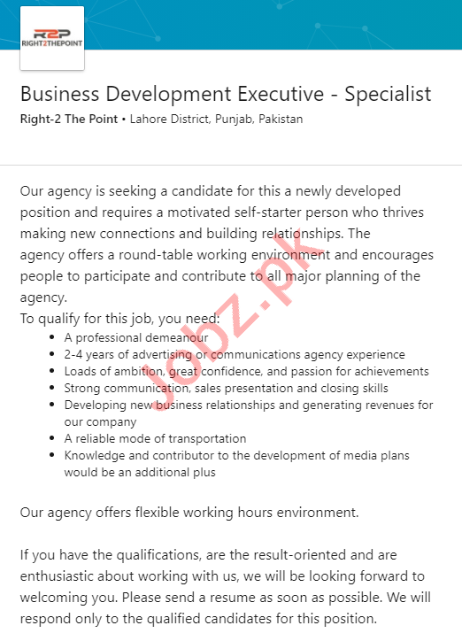 Right 2 The Point Lahore Jobs Business Development Executive