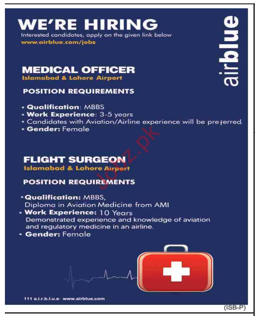 Airblue Islamabad Jobs 2020 for Medical Officer & Surgeon