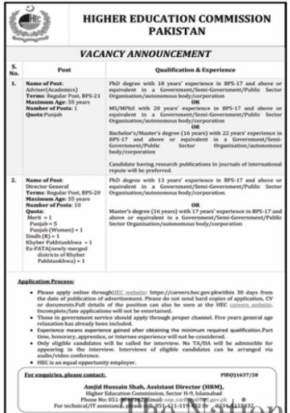 Higher Education Commission HEC Jobs 2020 in Islamabad
