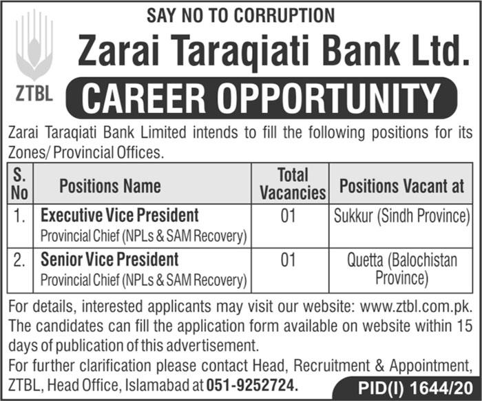 Zarai Taraqiati Bank Limited ZTBL Jobs in Sukkur & Quetta