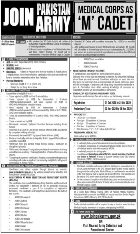 Join Pakistan Army As Medical Cadet