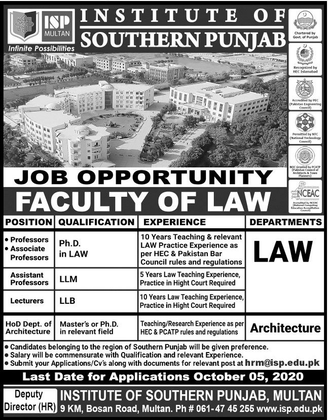 Institute of Southern Punjab Jobs 2020