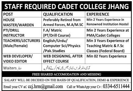 Cadet College Jhang Jobs 2020