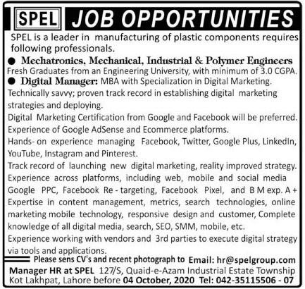 SPEL Plastic Manufacturing Company Jobs 2020