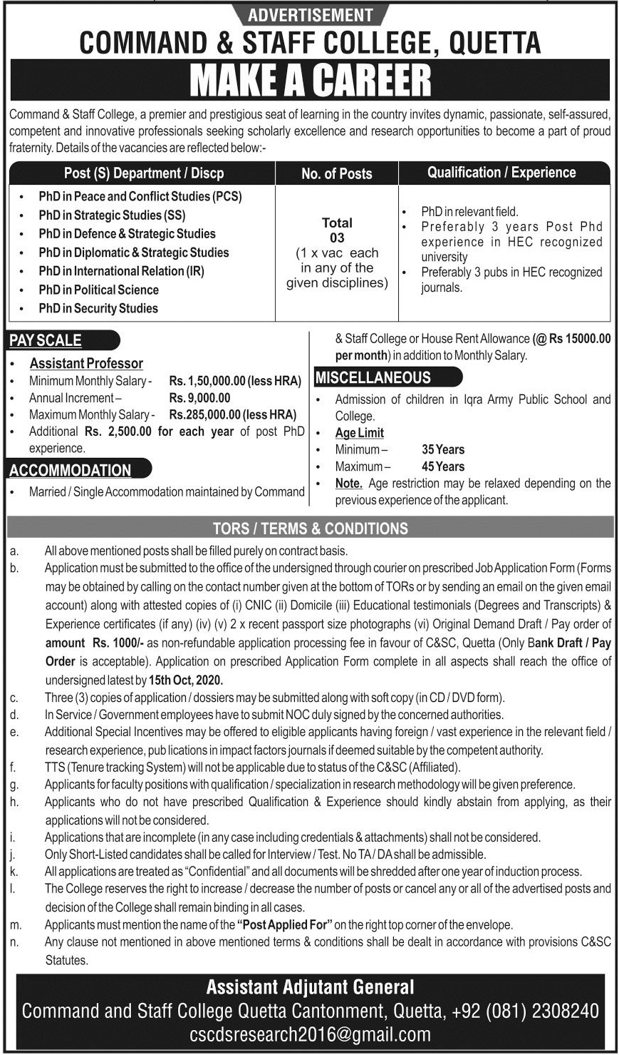 Command and Staff College Quetta Jobs 2020