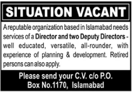 Director & Deputy Directors Jobs 2020 in Islamabad