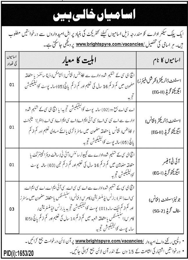 Public Sector Organization Jobs 2020 in Multan