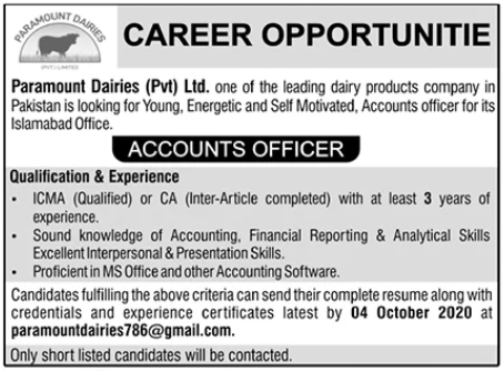 Paramount Dairies Job 2020 For Accounts Officer