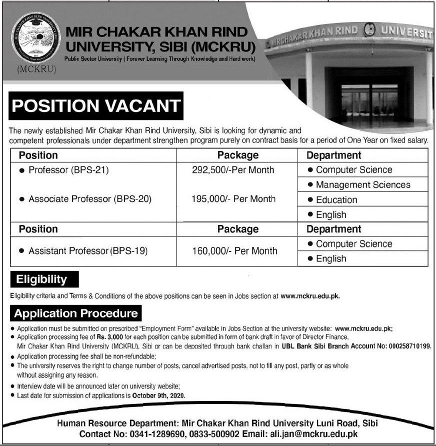 Mir Chakar Khan Rind University Jobs 2020