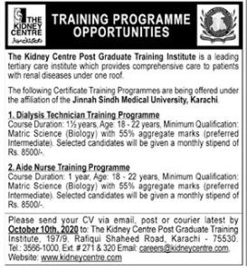 The Kidney Centre Post Graduate Training Institute Jobs 2020