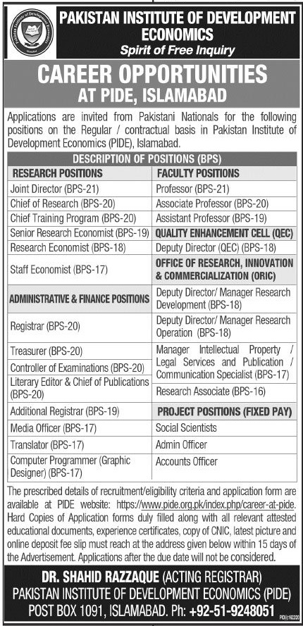 Pakistan Institute of Development Economics Jobs 2020