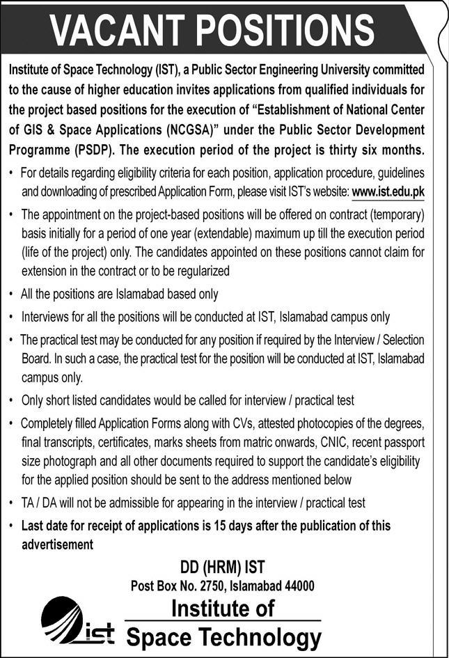 Institute of Space Technology IST Job 2020 in Islamabad