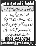 The Concept School & College System Jobs 2020 in Thatta