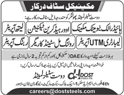 Mechanical Staff Jobs 2020 in Lahore