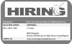 Dot Net Developer Job 2020 in Karachi
