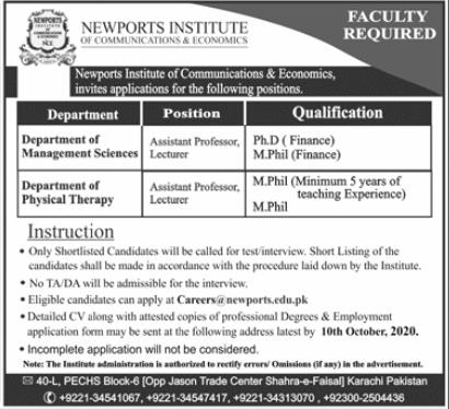 Newports Institute of Communications & Economics Jobs 2020