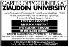 Ziauddin University Jobs 2020 in Karachi