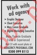 Graphic Designer & Client Executive Jobs 2020 in Lahore