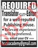 Translator & Editor Jobs 2020 in Lahore