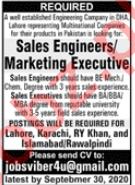 Sales Engineer & Marketing Executive Jobs 2020 in Lahore