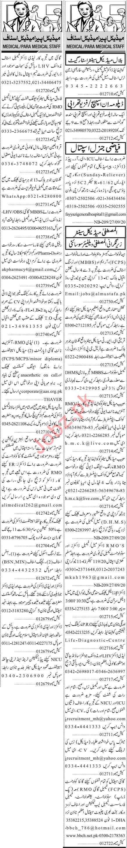 Jang Sunday Classified Ads 27 Sept 2020 for Medical Staff