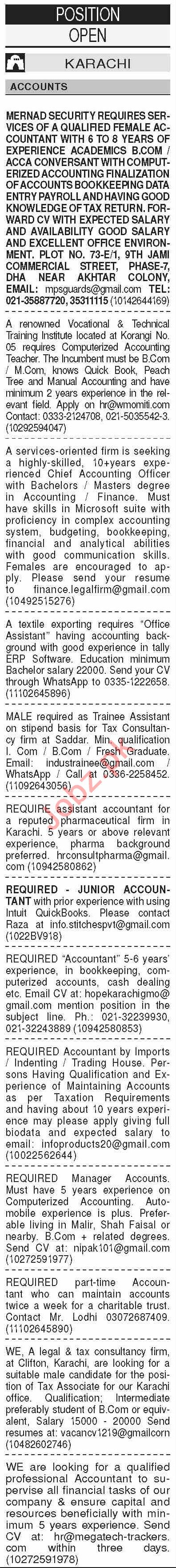 Dawn Sunday Classified Ads 27 Sept 2020 for Accounts Staff