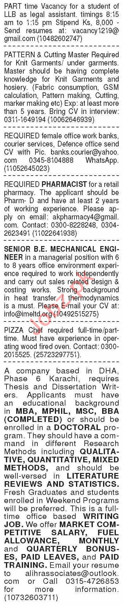 Dawn Sunday Classified Ads 27 Sept 2020 for General Staff