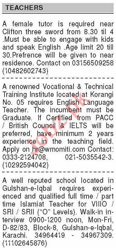 Dawn Sunday Classified Ads 27 Sept 2020 for Teaching Staff