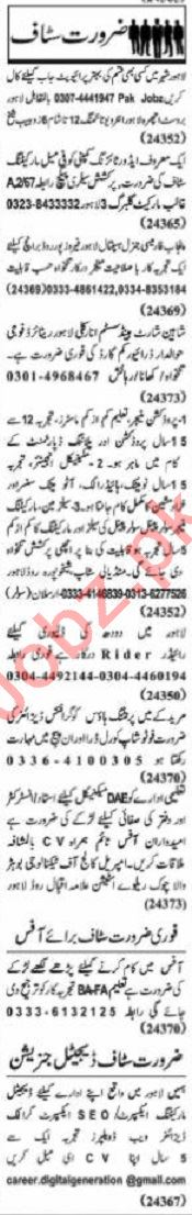 Nawaiwaqt Sunday Classified Ads 27 Sept 2020 Office Staff