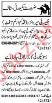 Nawaiwaqt Sunday Classified Ads 27 Sept 2020 for Security