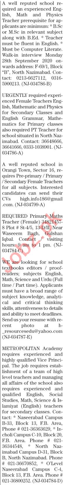 The News Sunday Classified Ads 27 Sept 2020 for Teachers